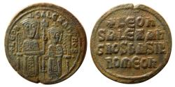Ancient Coins - BYZANTINE EMPIRE. Leo VI the Wise, with colleagues. AD. 886– 912. Æ.