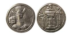 Ancient Coins - SASANIAN KINGS. Shahpur II. AD. 309-379. Silver Drachm. Choice Superb.