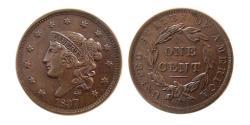 World Coins - UNITED STATES. 1837. Large Cent. Choice AU.