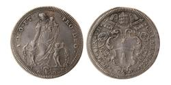 World Coins - ITALY. Papal Coinage. Clement XI. 1700-1721. Silver Testone .