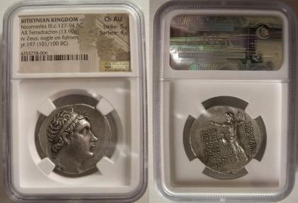 Ancient Coins - BITHYNIAN KINGDOM, Nicomedes III. Ca. 127-94 BC. Silver Tetradrachm. NGC Choice AU.