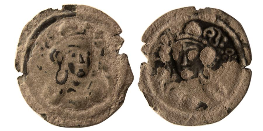 Ancient Coins - NEZAK HUNS. Imitation of Sasanians. Ca 5th Century AD. AE Brockage. Very rare.