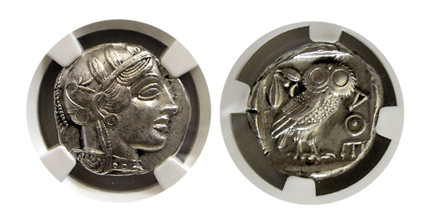 Ancient Coins - ATTICA, Athens. Ca. 440-404 BC. Silver Tetradrachm. NGC-AU*.  Wonderful strike !