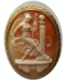 Ancient Coins - ANTIQUE VICTORIAN CAMEO PIN. Circa 18th Century. Engraved Sardonyx Cameo. Set in 18K gold frame.