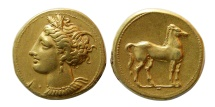 Ancient Coins - ZEUGITANIA, Carthage. Ca. 310-290 BC. Electrum Stater. Fine style from Artistic dies.