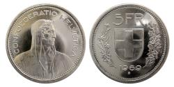 World Coins - SWITZERLAND, 1969.  5 francs. Fully Lustrous.