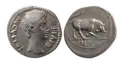 Ancient Coins - ROMAN EMPIRE. Augustus. 27 BC.- AD. 14. AR Denarius. Lugdunum, 15-13 BC.