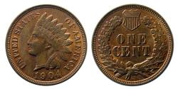 World Coins - UNITED STATES. 1904. Indian Head One Cent.