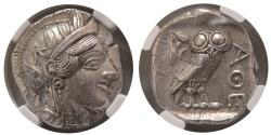 Ancient Coins - ATTICA. Athens. Ca. 454-404 BC. Silver Tetradrachm. NGC Choice AU ★ . Lovely strike. Choice Superb.