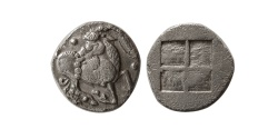 Ancient Coins - THRACO-MACEDONIAN REGION, Mygdones or Krestones. Circa 485-470 BC. AR Diobol.