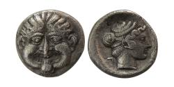 Ancient Coins - MACEDON, Neapolis. Ca. 424-350 BC. AR Hemidrachm.