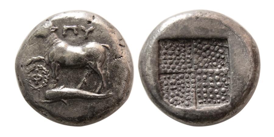Ancient Coins - THRACE, Byzantion. Circa 357-340 BC. AR Tetradrachm. Rare.