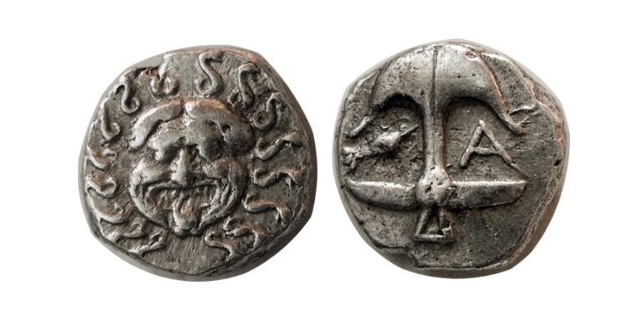 Ancient Coins - THRACE, Apollonia Pontika. Mid-late 4th century BC. AR Drachm.