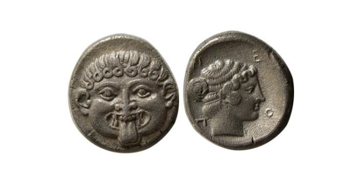 Ancient Coins - MACEDON, Neapolis. Circa 424-350 BC. AR Hemidrachm