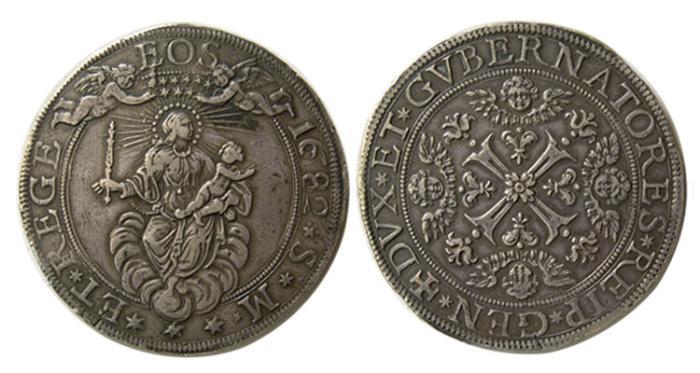 World Coins - GENOA, 1682 SM. ITALY. AR Two Escudo.