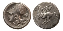 Ancient Coins - CORINTHIA. Corinth. Ca. 345-307 BC. AR Stater.  Lovely Style. Choice Superb EF.