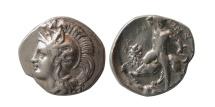 Ancient Coins - CALABRIA, Taras. Ca. 380-325 BC. Silver Diobol.