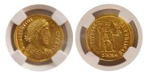 Ancient Coins - ROMAN EMPIRE. Valentinian I. AD 364-375. Gold Solidus. Nicomedia. NGC-MS.