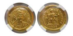 Ancient Coins - ROMAN EMPIRE; Theodosis II. AD. 402-450 Gold Solidus. NGC-Choice AU (Strike 5/5; Surface 4/5).