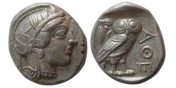 Ancient Coins - ATTICA, Athens. 440-404 BC. AR Tetradrachm.  Full crest. Choice AU. Toned.