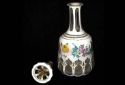 World Coins - BOHEMIAN GLASS. 19th / 20th century.  white cased colorless bottle decorated with flowers, gilt highlights.