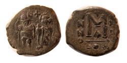 Ancient Coins - BYZANTINE EMPIRE. Constans II. with Constantin IV. 641-668 AD. Æ Follis.