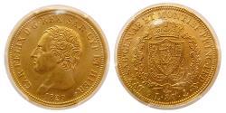Ancient Coins - ITALIAN STATES, Sardinia. Gold 80 Lire, 1829-P (Genova).  PCGS-AU58.