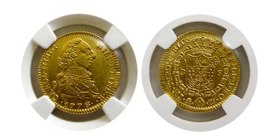 World Coins - SPAIN. Carlos III. 1759-1788. Gold 2 Escudos. NGC AU-58.