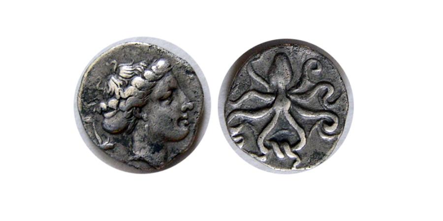 Ancient Coins - SICILY, Syracuse. Circa 415-405 BC. AR Litra. Rare.