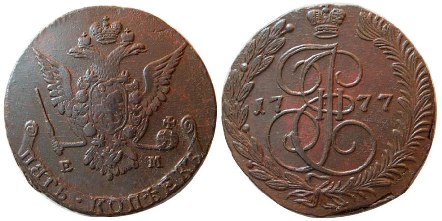 """World Coins - RUSSIA, Catherine II, """"the Great"""". 1762-1792. Æ 5 Kopecks. Dated 1777."""