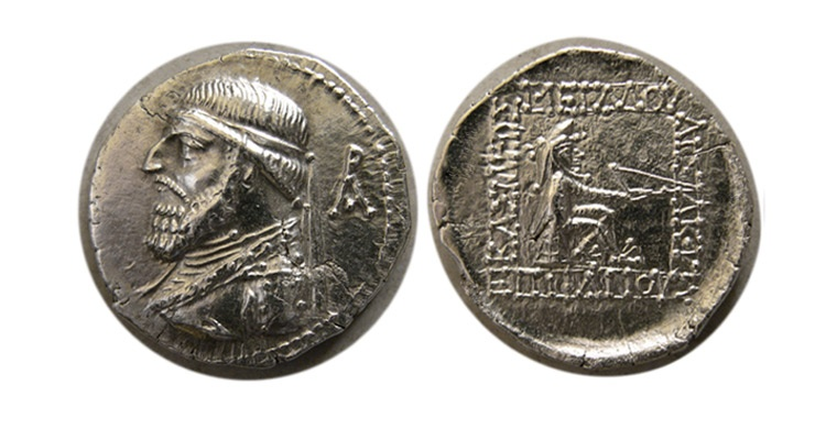 Ancient Coins - KINGS of PARTHIA. Mithradates II. 121-91 BC. AR Drachm. Rhagae mint. Very Rare.