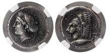 Ancient Coins - MYSIA. Cyzicus. Ca. 390-330 BC. AR Tetradrachm. Scarce. NGC Choice XF (Strike 5/5; Surface 3/5).