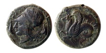 Ancient Coins - SICILY, Syracuse. Dionysios I. 405-367 BC. Æ Litra. Lovely strike.