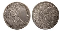 World Coins - HUNGARY, Karl VI. 1711-1740. 1/2 Taler. 1717 KB. Choice Superb.