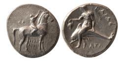 Ancient Coins - CALABRIA, Tarentum. 302-281 BC. Silver Didrachm.
