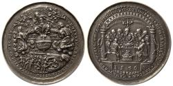 World Coins - SWITZERLAND. JOACHINS, last Supper Medal. Ca. 17th century. Silver Medallion.