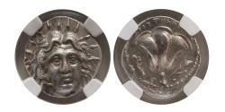 Ancient Coins - CARIA; ISLANDS of RHODES. Ca. 250-200 BC. Silver Didrachm. NGC-Choice AU (Strike 5/5; Surface 4/5)