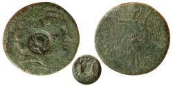 Ancient Coins - THRACE. Lysimacheia. 3rd century BC. Æ Unit. Sharp countermark of Lion Head. Scarce.