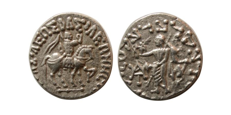Ancient Coins - INDO-SCYTHIAN KINGS, Azes. Circa 58-20/19 BC. AR Drachm.