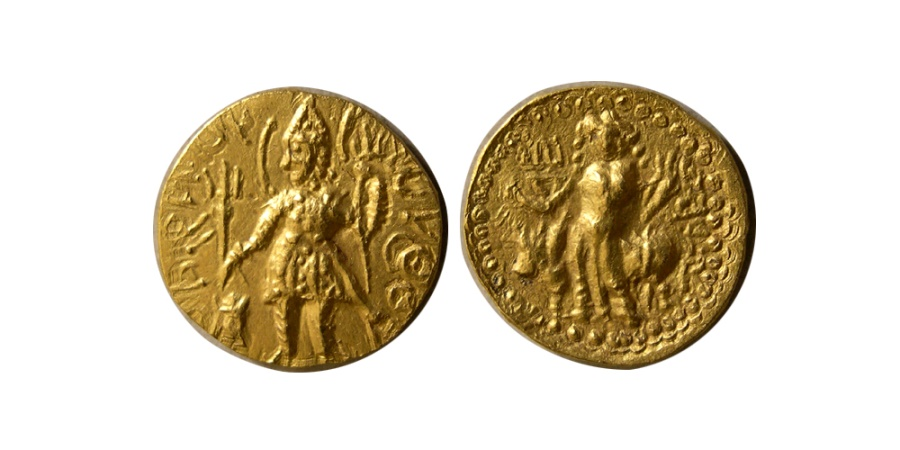Ancient Coins - INDIA, KUSHAN KINGS. Vasudeva I. Circa AD 192-225. AV Quarter Dinar. Rare.