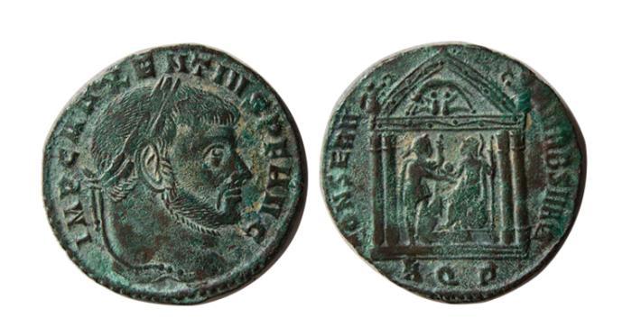 Ancient Coins - ROMAN EMPIRE. Maxentius. 306-312 AD. AE Follis.  Aquileia mint. Struck 307 AD.
