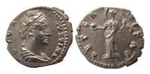 Ancient Coins - ROMAN EMPIRE; Diva Faustina I. after AD 141. Silver Denarius. Lovely style. FDC.