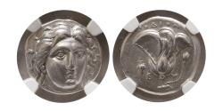 Ancient Coins - CARIA; ISLANDS of RHODES. Late 4th-early 3rd Century BC. Silver Didrachm. NGC-Choice XF.