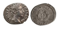 Ancient Coins - ROMAN EMPIRE. Augustus. Circa 25-22 BC. AR Denarius. Colonia Patricia mint. Lovely Strike.