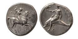 Ancient Coins - CALABRIA, Tarentum. Circa 281-272 BC. Silver Didrachm.