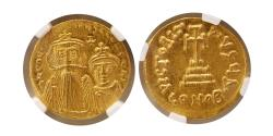 Ancient Coins - BYZANTINE EMPIRE. Constans II with Constantine IV. AV Solidus. Constantinople, NGC MS. Lustrous.
