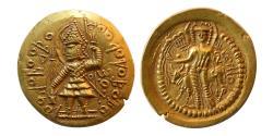 Ancient Coins - INDIA; KUSHAN KINGS. Vasudeva II. 290-310 AD.  Gold Dinar. Sharply struck.