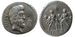 Ancient Coins - ROMAN REPUBLIC, L. Titurius L. f. Sabinus. 89 BC. AR denarius.