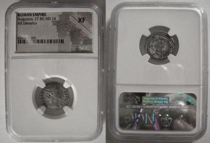 Ancient Coins - ROMAN EMPIRE. Augustus. 27 BC.- 14 AD. Silver Denarius. Spain (Colonia Patricia?). NGC XF.
