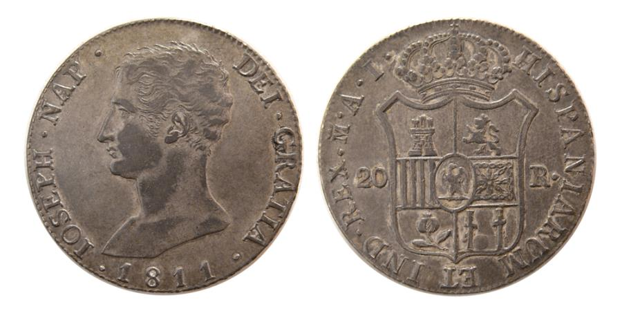 World Coins - SPAIN, French Occupation, Joseph Napoleon. 1808-1813. AR 20 Reals. Lovely strike.